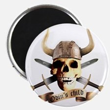 skull helmet axe, odins child Magnet