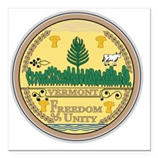 """Vermont State Seal Square Car Magnet 3"""" x 3"""""""