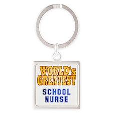 World's Greatest School Nurse Square Keychain
