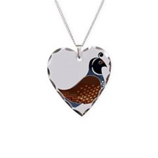 Quinn the Quail Necklace Heart Charm