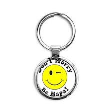 Dont worry Be Hapa! Black Round Keychain