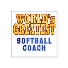"World's Greatest Softball C Square Sticker 3"" x 3"""
