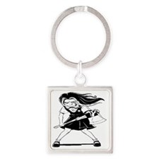 Angry Girl Square Keychain