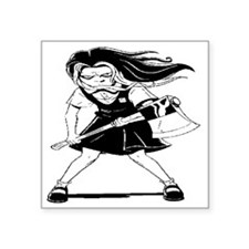 "Angry Girl Square Sticker 3"" x 3"""