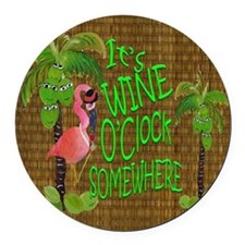 Its Wine Oclock somewhere Flaming Round Car Magnet