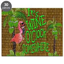 Its Wine Oclock somewhere Flamingo Puzzle