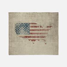 Vintage USA Flag Map Throw Blanket