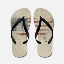 Vintage USA Flag Map Flip Flops