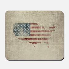 Vintage USA Flag Map Mousepad