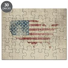 Vintage USA Flag Map Puzzle