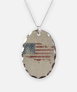 Vintage USA Flag Map Necklace