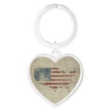 Vintage USA Flag Map Heart Keychain
