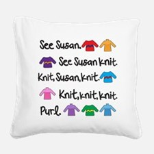 See Susan Knit Tote Square Canvas Pillow