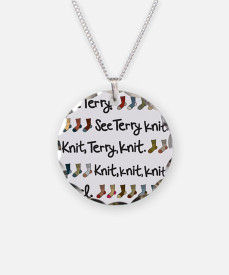 See Terry Knit Tote Necklace Circle Charm