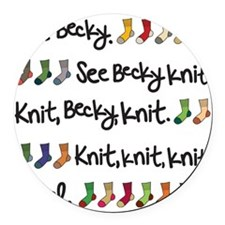See Becky Knit Tote Round Car Magnet