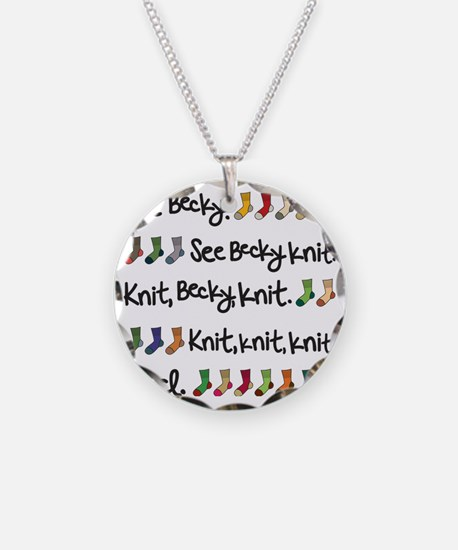 See Becky Knit Tote Necklace Circle Charm