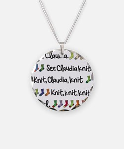 See Claudia Knit Tote Necklace Circle Charm