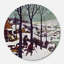 Pieter Bruegel Hunters in the Sno Round Car Magnet