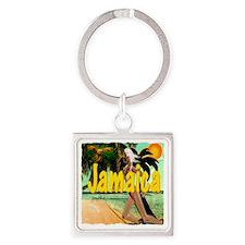 jamaica tropical calarribbean isla Square Keychain