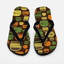 Burger Pattern Flip Flops