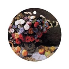 Monet Flowers And Fruits Round Ornament