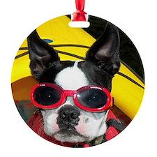 Red Goggled Boston Terrier Ornament