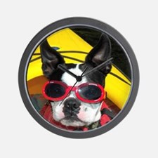 Red Goggled Boston Terrier Wall Clock