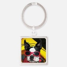 Red Goggled Boston Terrier Square Keychain
