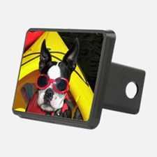 Red Goggled Boston Terrier Hitch Cover