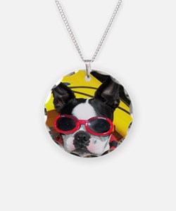 Red Goggled Boston Terrier Necklace