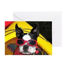 Red Goggled Boston Terrier Greeting Card