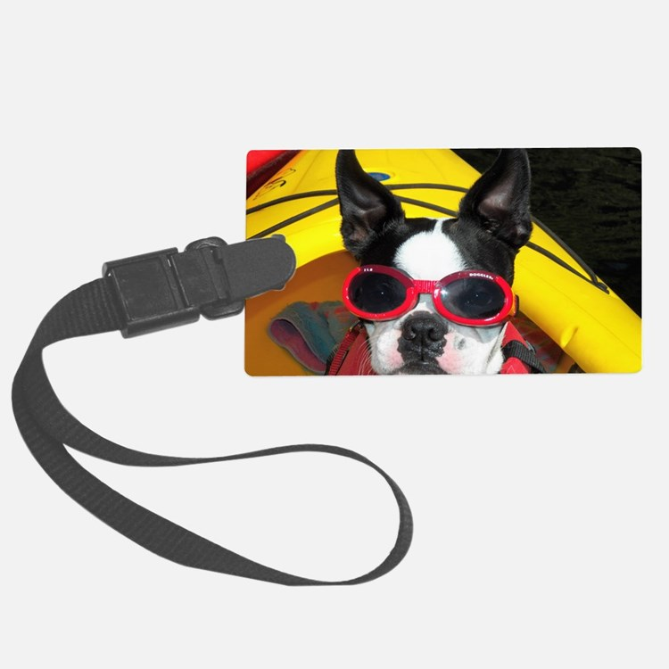 Red Goggled Boston Terrier Luggage Tag