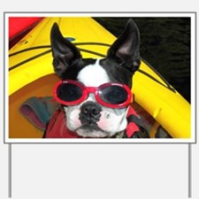 Red Goggled Boston Terrier Yard Sign