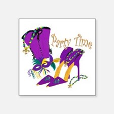 """Party Time purple high heel Square Sticker 3"""" x 3"""""""