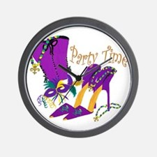 Party Time purple high heels Wall Clock