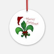 Merry Christmas Fleur de lis Round Ornament