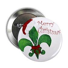 """Merry Christmas Fleur de lis 2.25"""" Button"""