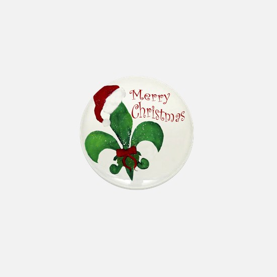 Merry Christmas Fleur de lis Mini Button