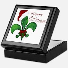Merry Christmas Fleur de lis Keepsake Box