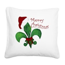 Merry Christmas Fleur de lis Square Canvas Pillow