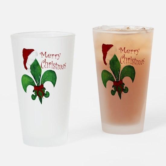 Merry Christmas Fleur de lis Drinking Glass