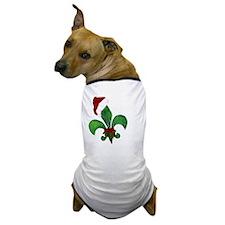 Merry Christmas Fleur de lis Dog T-Shirt