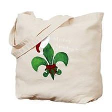 Merry Christmas Fleur de lis Tote Bag