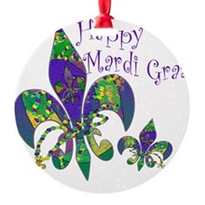 Mardi Gras Carnival Fleur de lis Round Ornament