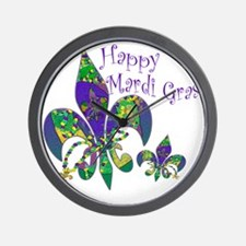 Mardi Gras Carnival Fleur de lis Wall Clock