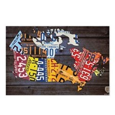 License Plate Map of Cana Postcards (Package of 8)