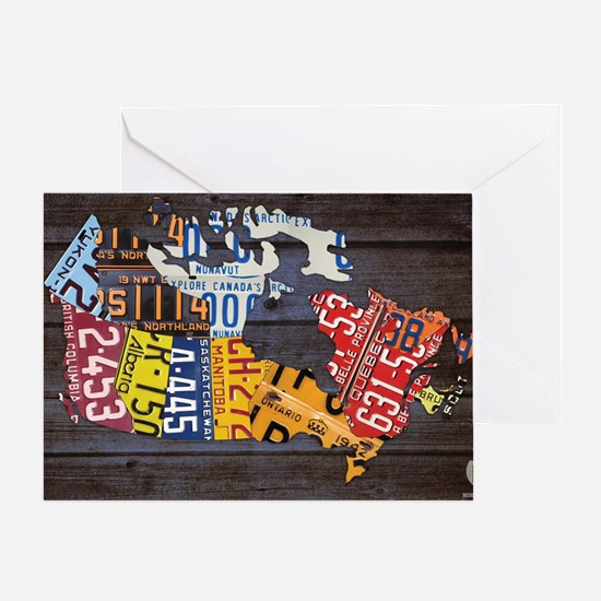 License Plate Map of Canada by Desig Greeting Card
