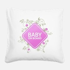 Baby on Board - Girl Square Canvas Pillow