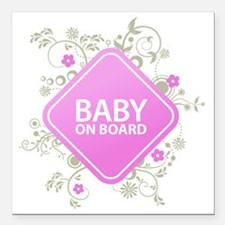 "Baby on Board - Girl Square Car Magnet 3"" x 3"""
