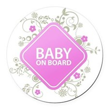Baby on Board - Girl Round Car Magnet